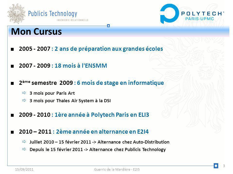 2005 - 2007 : 2 ans de préparation aux grandes écoles 2007 - 2009 : 18 mois à l'ENSMM 2 ème semestre 2009 : 6 mois de stage en informatique 3 mois pou