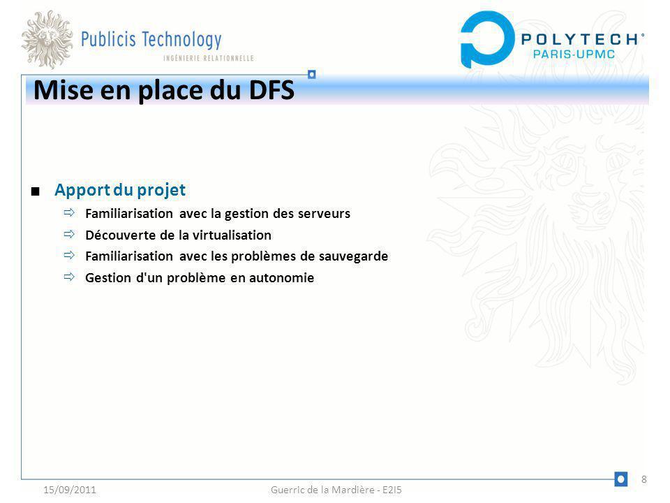 Mise en place du DFS Apport du projet Familiarisation avec la gestion des serveurs Découverte de la virtualisation Familiarisation avec les problèmes