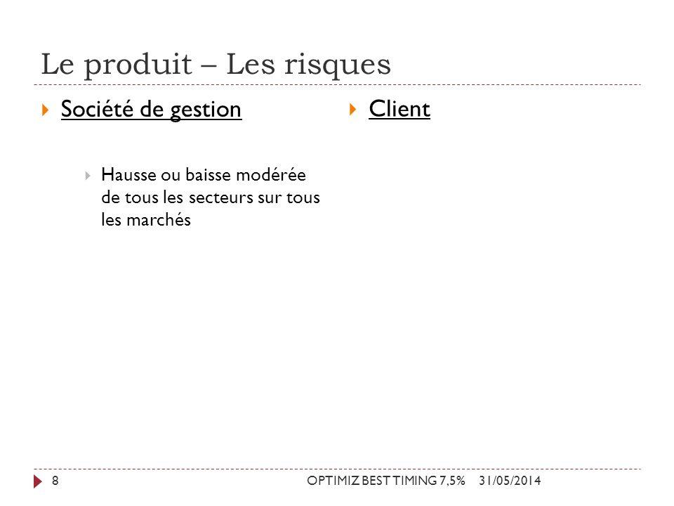 Le produit – Les risques 31/05/2014OPTIMIZ BEST TIMING 7,5%8 Société de gestion Hausse ou baisse modérée de tous les secteurs sur tous les marchés Cli