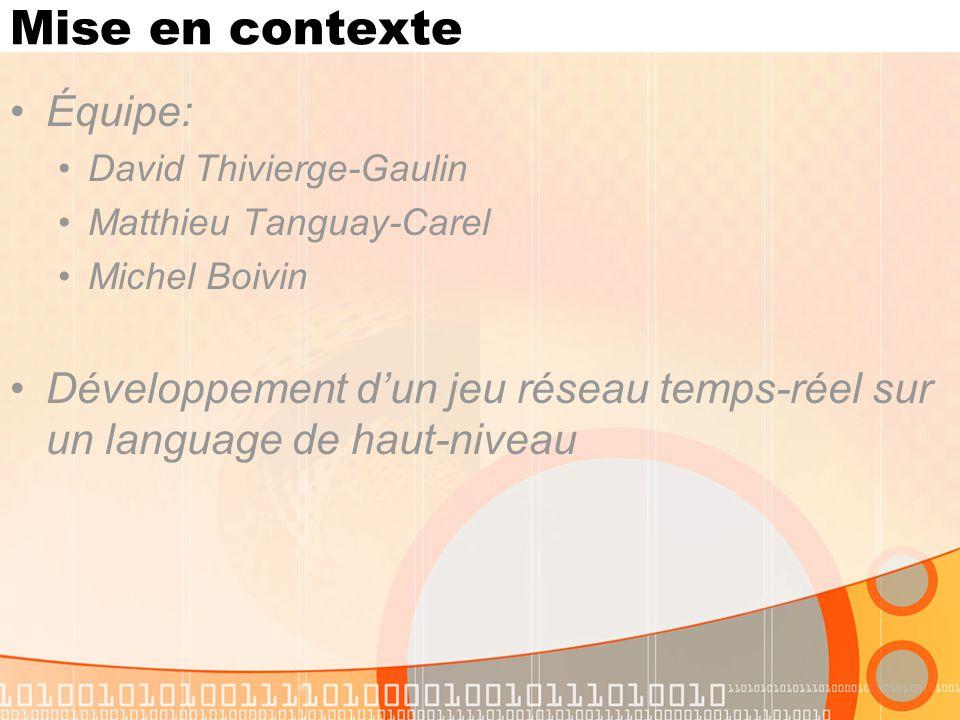 Mise en contexte Équipe: David Thivierge-Gaulin Matthieu Tanguay-Carel Michel Boivin Développement dun jeu réseau temps-réel sur un language de haut-n