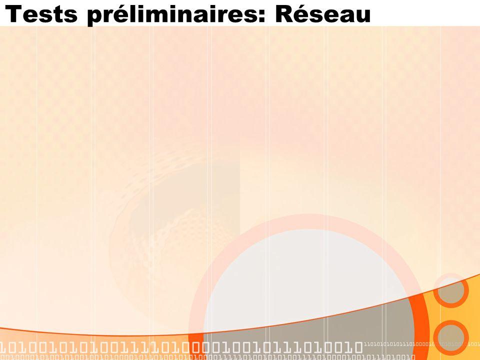 Tests préliminaires: Réseau