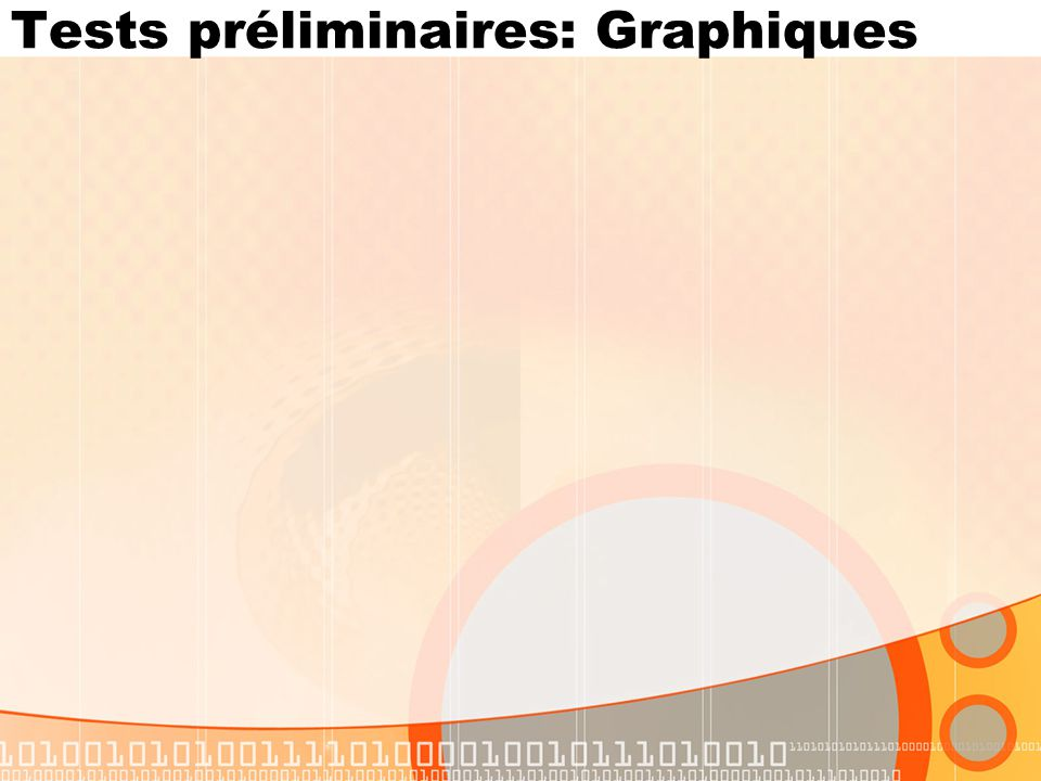 Tests préliminaires: Graphiques