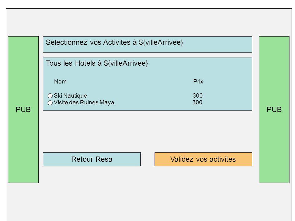 PUB Selectionnez vos Activites à ${villeArrivee} Tous les Hotels à ${villeArrivee} Nom Prix Ski Nautique 300 Visite des Ruines Maya 300 Validez vos activitesRetour Resa