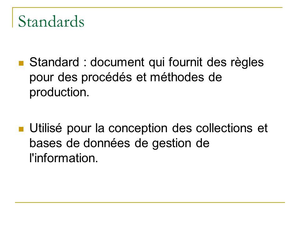 Standards Standard : document qui fournit des règles pour des procédés et méthodes de production. Utilisé pour la conception des collections et bases