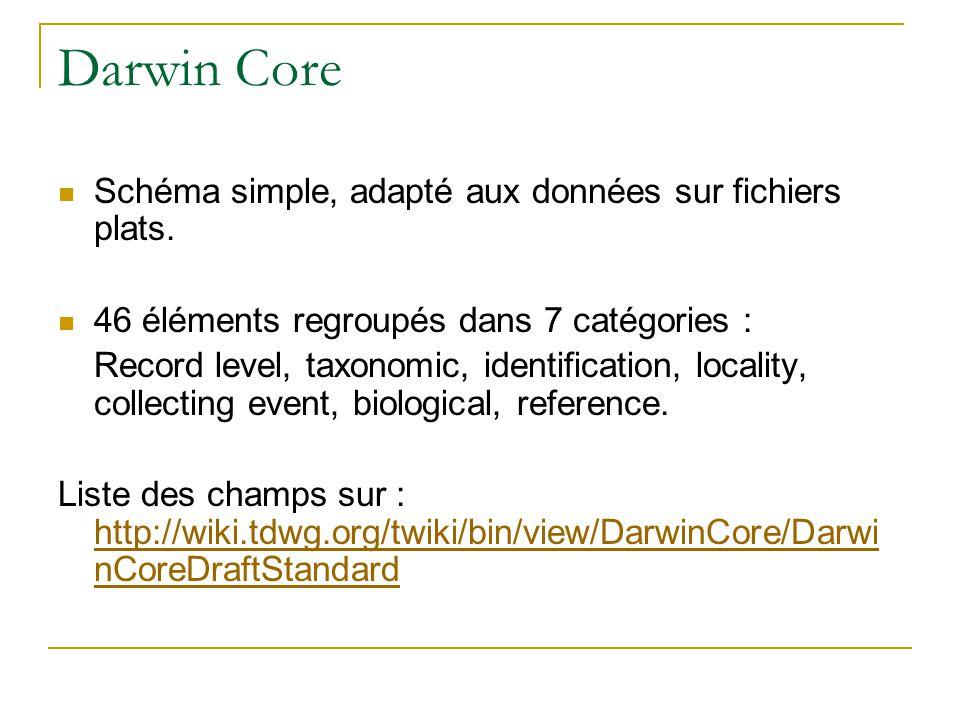 Darwin Core Schéma simple, adapté aux données sur fichiers plats. 46 éléments regroupés dans 7 catégories : Record level, taxonomic, identification, l