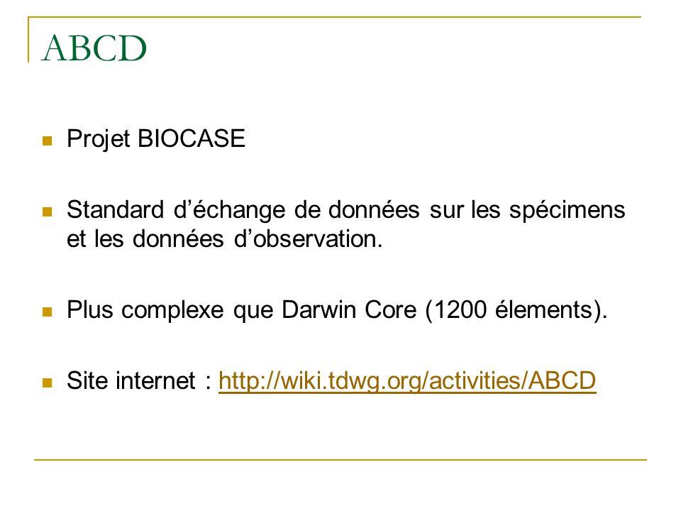 ABCD Projet BIOCASE Standard déchange de données sur les spécimens et les données dobservation. Plus complexe que Darwin Core (1200 élements). Site in
