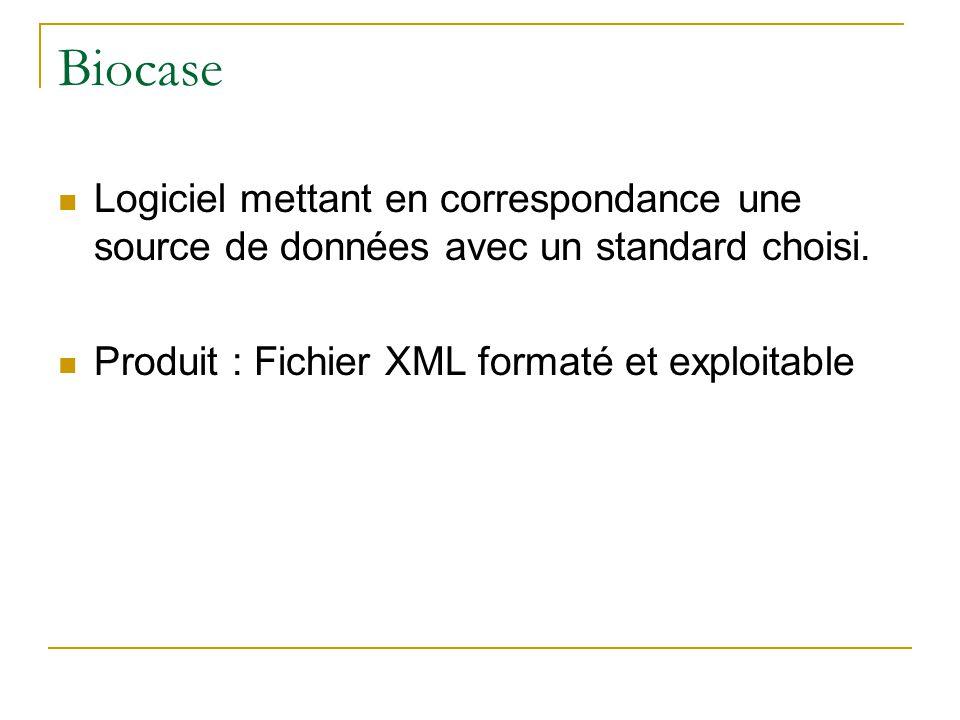 Biocase Logiciel mettant en correspondance une source de données avec un standard choisi. Produit : Fichier XML formaté et exploitable