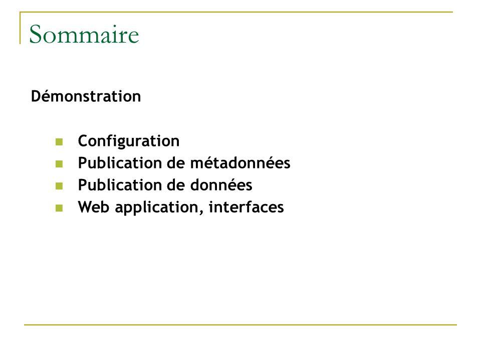 Démonstration Configuration Publication de métadonnées Publication de données Web application, interfaces Sommaire