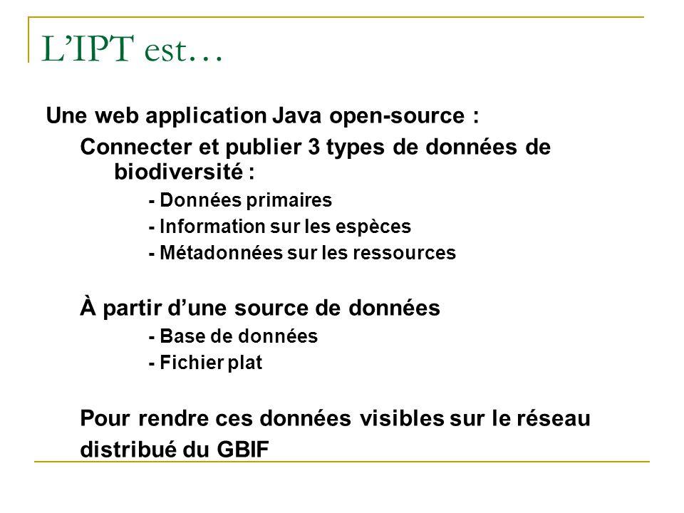 Une web application Java open-source : Connecter et publier 3 types de données de biodiversité : - Données primaires - Information sur les espèces - M