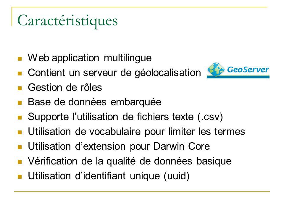 Caractéristiques Web application multilingue Contient un serveur de géolocalisation Gestion de rôles Base de données embarquée Supporte lutilisation d