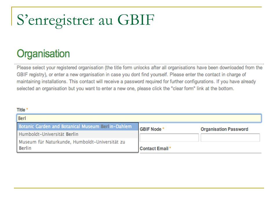 Senregistrer au GBIF