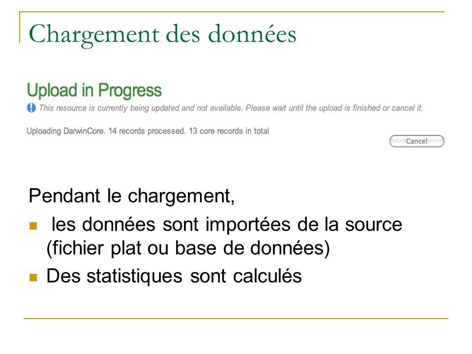 Chargement des données Pendant le chargement, les données sont importées de la source (fichier plat ou base de données) Des statistiques sont calculés