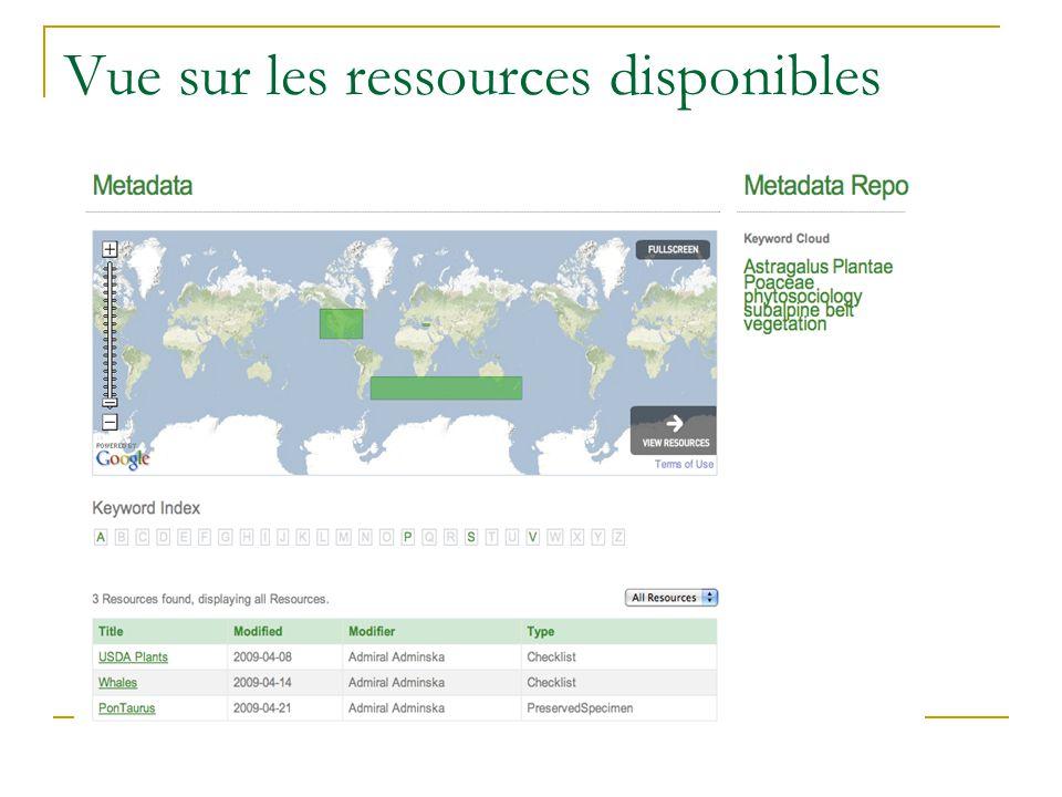 Vue sur les ressources disponibles