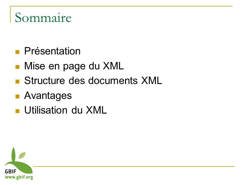 Sommaire Présentation Mise en page du XML Structure des documents XML Avantages Utilisation du XML