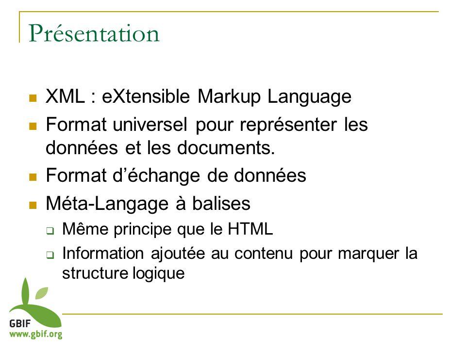 Présentation XML : eXtensible Markup Language Format universel pour représenter les données et les documents. Format déchange de données Méta-Langage