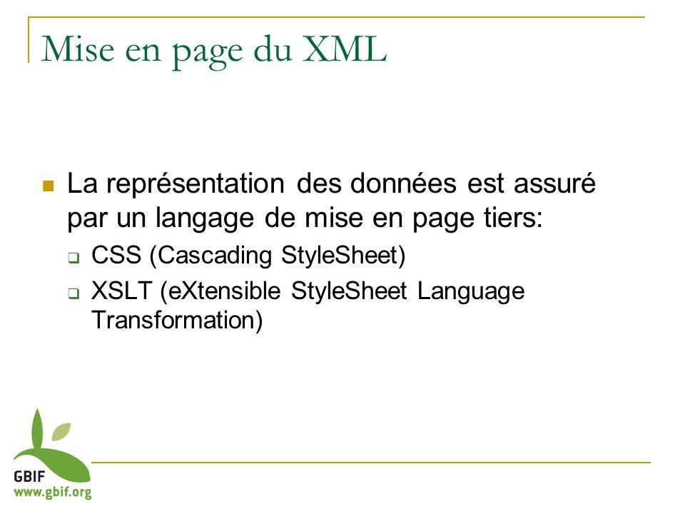 Mise en page du XML La représentation des données est assuré par un langage de mise en page tiers: CSS (Cascading StyleSheet) XSLT (eXtensible StyleSh