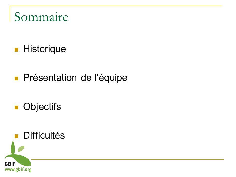 Sommaire Historique Présentation de léquipe Objectifs Difficultés