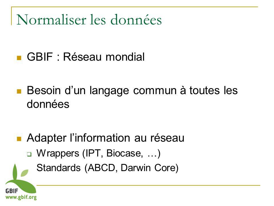 Normaliser les données GBIF : Réseau mondial Besoin dun langage commun à toutes les données Adapter linformation au réseau Wrappers (IPT, Biocase, …) Standards (ABCD, Darwin Core)