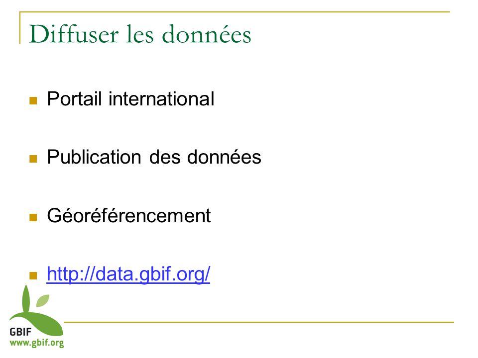 Diffuser les données Portail international Publication des données Géoréférencement http://data.gbif.org/