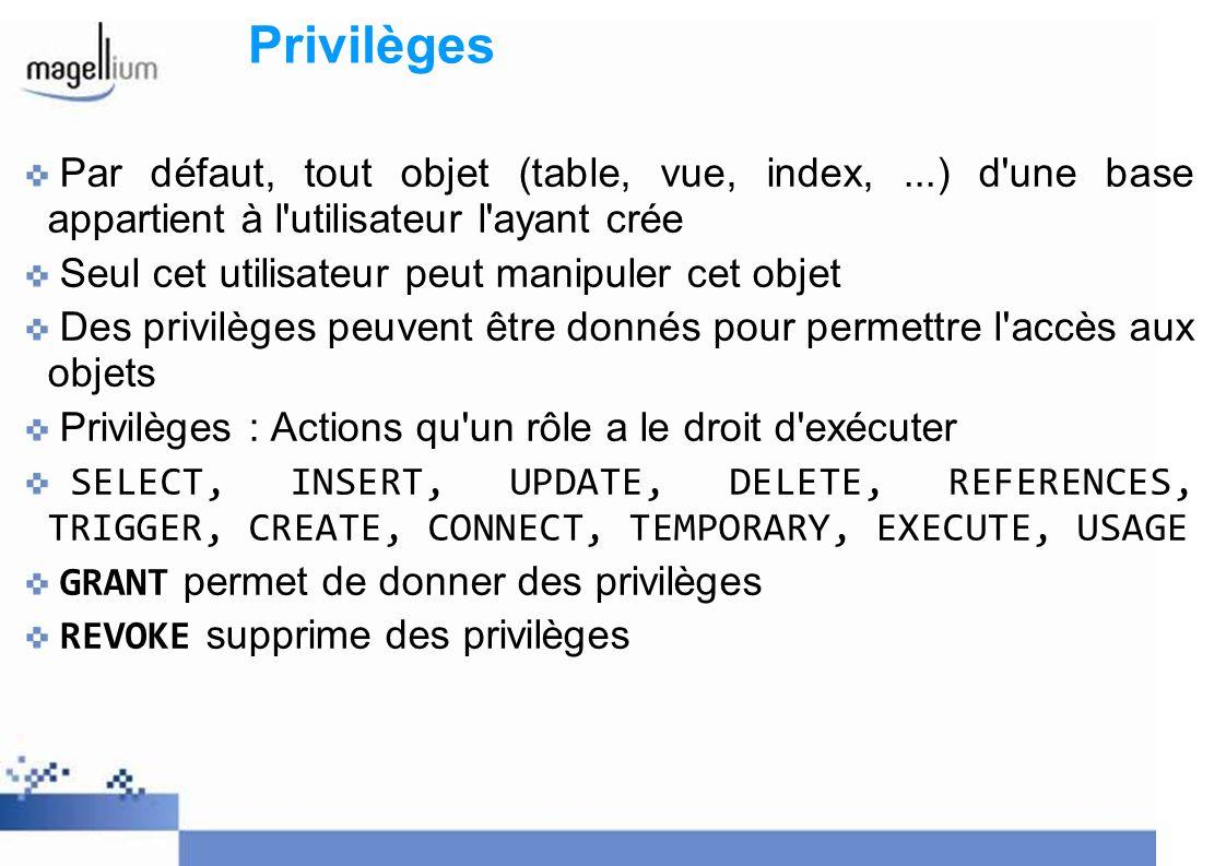 Privilèges Par défaut, tout objet (table, vue, index,...) d'une base appartient à l'utilisateur l'ayant crée Seul cet utilisateur peut manipuler cet o
