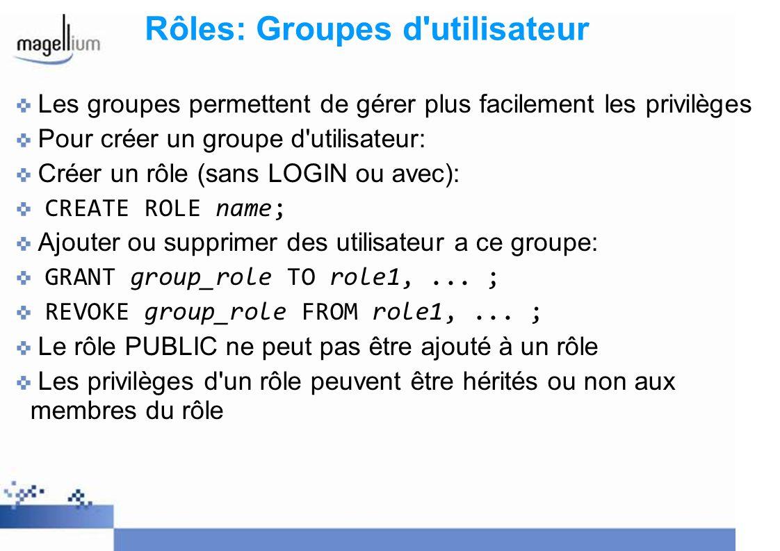 Rôles: Groupes d'utilisateur Les groupes permettent de gérer plus facilement les privilèges Pour créer un groupe d'utilisateur: Créer un rôle (sans LO