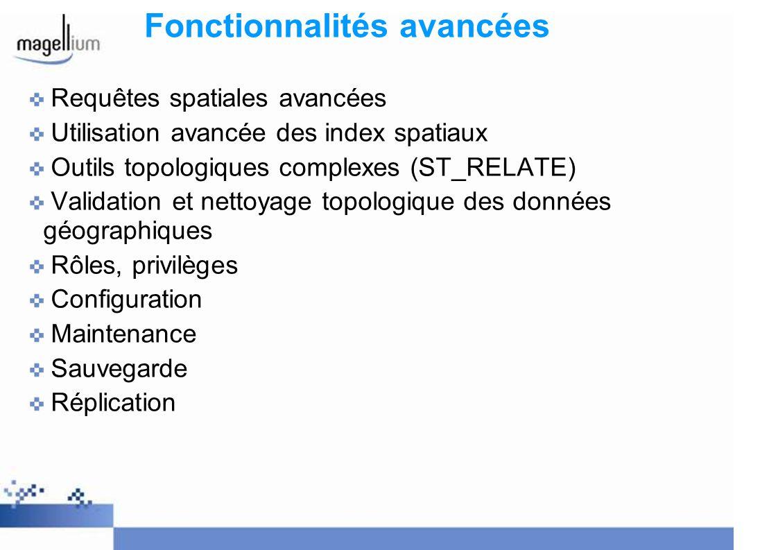 Fonctionnalités avancées Requêtes spatiales avancées Utilisation avancée des index spatiaux Outils topologiques complexes (ST_RELATE) Validation et ne