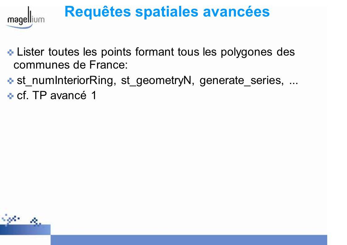 Requêtes spatiales avancées Lister toutes les points formant tous les polygones des communes de France: st_numInteriorRing, st_geometryN, generate_ser