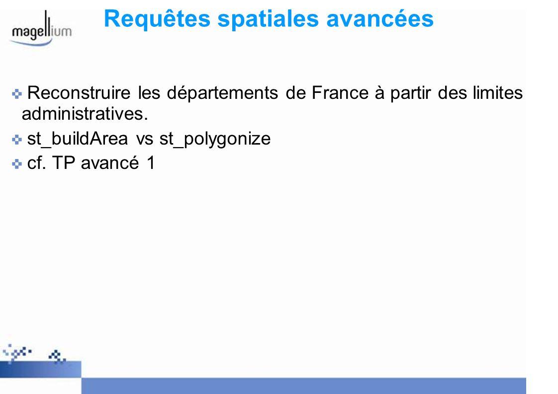Requêtes spatiales avancées Reconstruire les départements de France à partir des limites administratives. st_buildArea vs st_polygonize cf. TP avancé