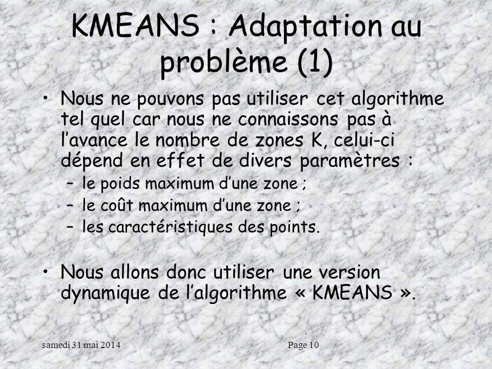 samedi 31 mai 2014Page 10 KMEANS : Adaptation au problème (1) Nous ne pouvons pas utiliser cet algorithme tel quel car nous ne connaissons pas à lavance le nombre de zones K, celui-ci dépend en effet de divers paramètres : –le poids maximum dune zone ; –le coût maximum dune zone ; –les caractéristiques des points.