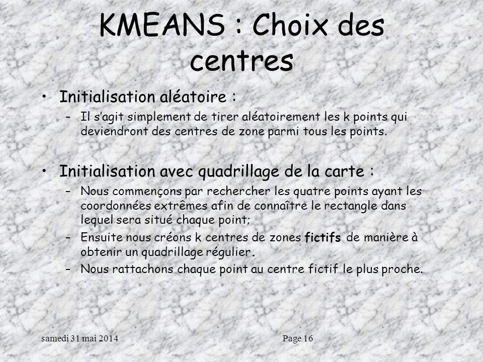 samedi 31 mai 2014Page 16 KMEANS : Choix des centres Initialisation aléatoire : –Il sagit simplement de tirer aléatoirement les k points qui deviendront des centres de zone parmi tous les points.