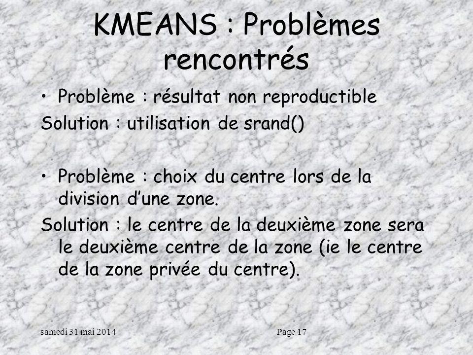 samedi 31 mai 2014Page 17 KMEANS : Problèmes rencontrés Problème : résultat non reproductible Solution : utilisation de srand() Problème : choix du centre lors de la division dune zone.