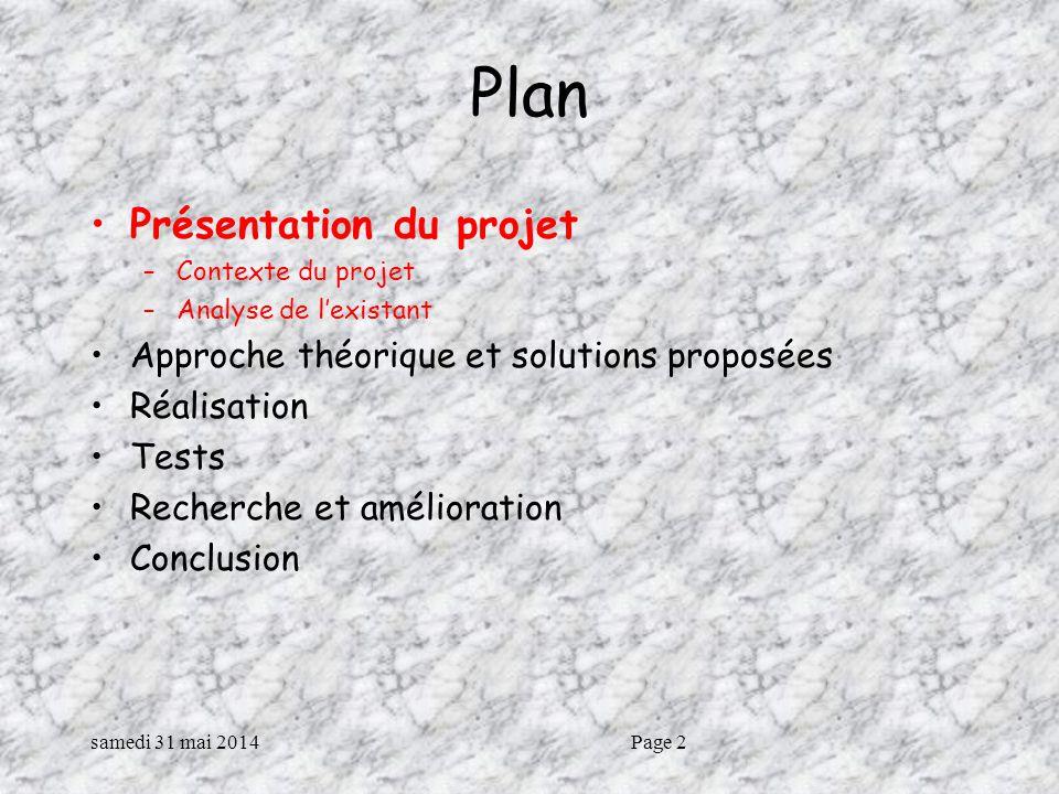 samedi 31 mai 2014Page 2 Plan Présentation du projet –Contexte du projet –Analyse de lexistant Approche théorique et solutions proposées Réalisation Tests Recherche et amélioration Conclusion
