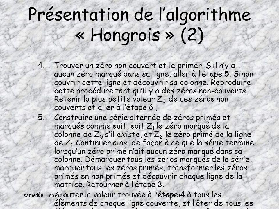 samedi 31 mai 2014Page 21 Présentation de lalgorithme « Hongrois » (2) 4.Trouver un zéro non couvert et le primer.
