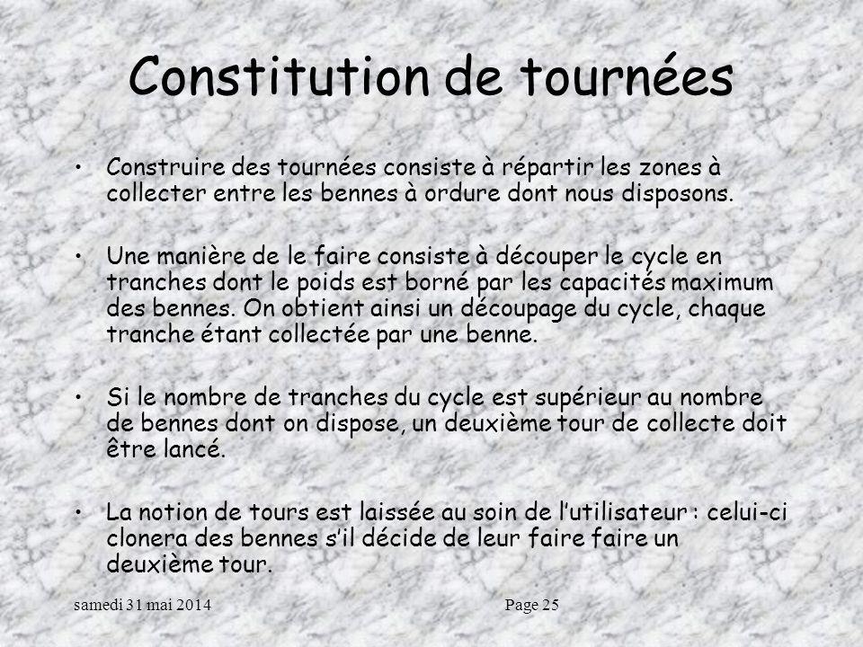 samedi 31 mai 2014Page 25 Constitution de tournées Construire des tournées consiste à répartir les zones à collecter entre les bennes à ordure dont nous disposons.