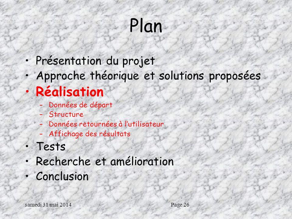 samedi 31 mai 2014Page 26 Plan Présentation du projet Approche théorique et solutions proposées Réalisation –Données de départ –Structure –Données retournées à lutilisateur –Affichage des résultats Tests Recherche et amélioration Conclusion