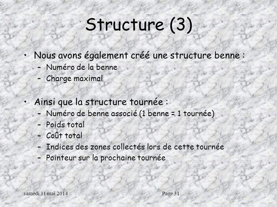 samedi 31 mai 2014Page 31 Structure (3) Nous avons également créé une structure benne : –Numéro de la benne –Charge maximal Ainsi que la structure tournée : –Numéro de benne associé (1 benne = 1 tournée) –Poids total –Coût total –Indices des zones collectés lors de cette tournée –Pointeur sur la prochaine tournée