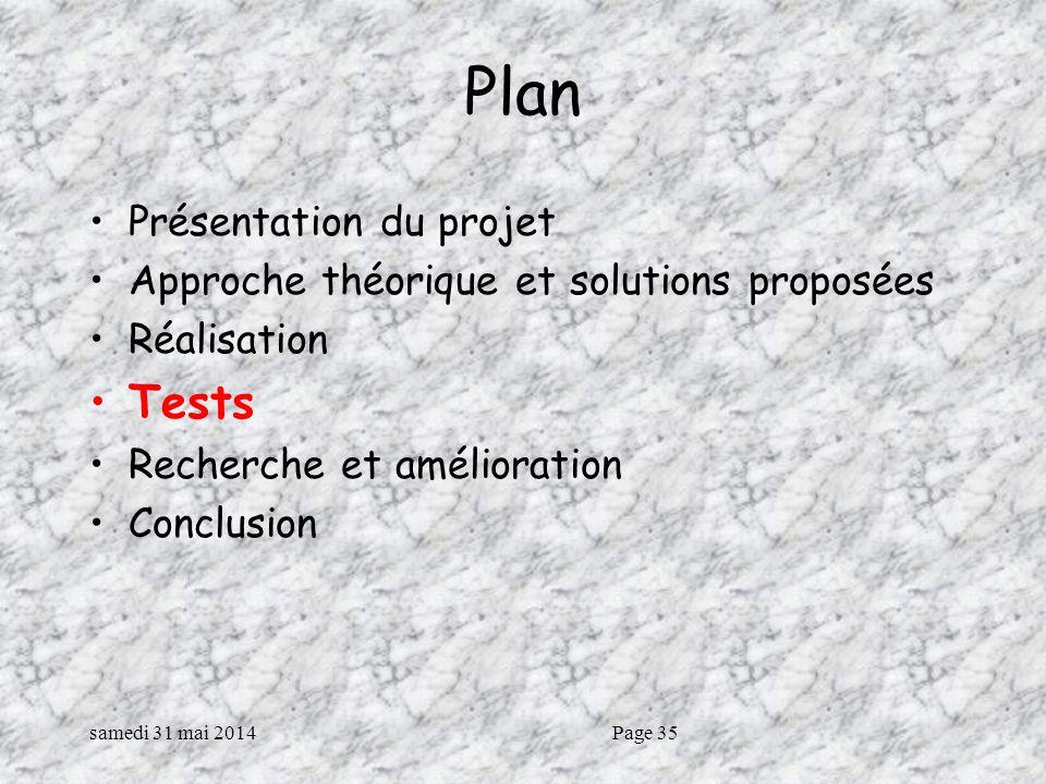 samedi 31 mai 2014Page 35 Plan Présentation du projet Approche théorique et solutions proposées Réalisation Tests Recherche et amélioration Conclusion