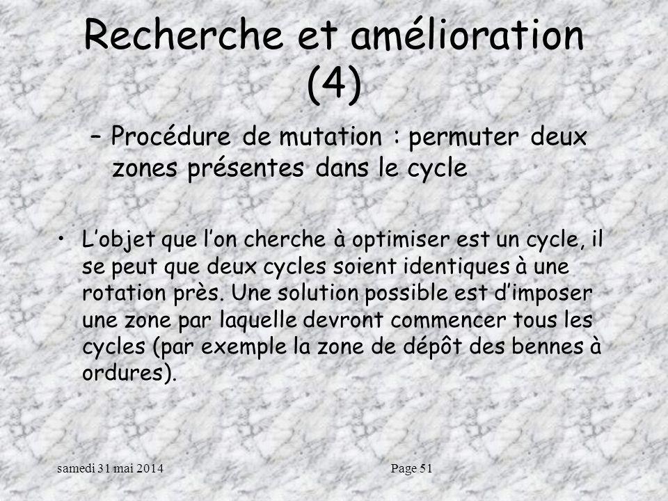 samedi 31 mai 2014Page 51 Recherche et amélioration (4) –Procédure de mutation : permuter deux zones présentes dans le cycle Lobjet que lon cherche à optimiser est un cycle, il se peut que deux cycles soient identiques à une rotation près.