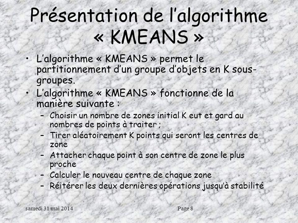 samedi 31 mai 2014Page 8 Présentation de lalgorithme « KMEANS » Lalgorithme « KMEANS » permet le partitionnement dun groupe dobjets en K sous- groupes.