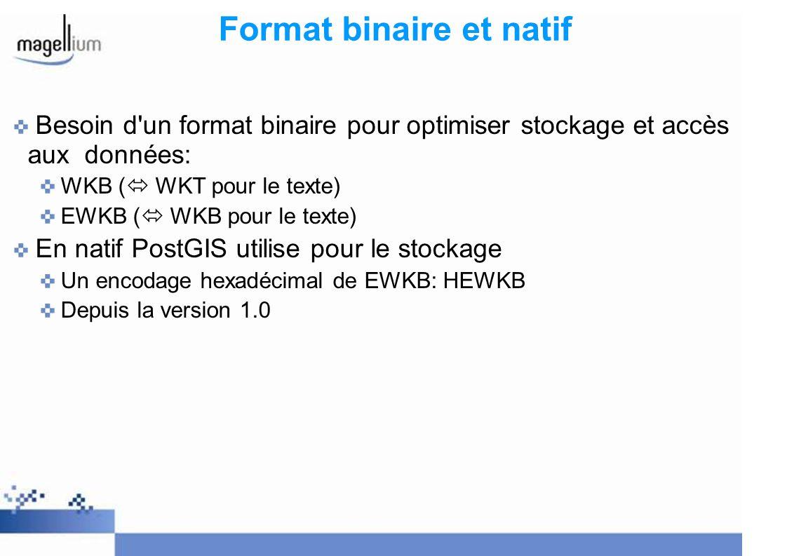 Format binaire et natif Besoin d'un format binaire pour optimiser stockage et accès aux données: WKB ( WKT pour le texte) EWKB ( WKB pour le texte)