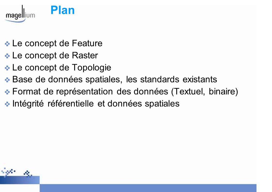 Plan Le concept de Feature Le concept de Raster Le concept de Topologie Base de données spatiales, les standards existants Format de représentation de
