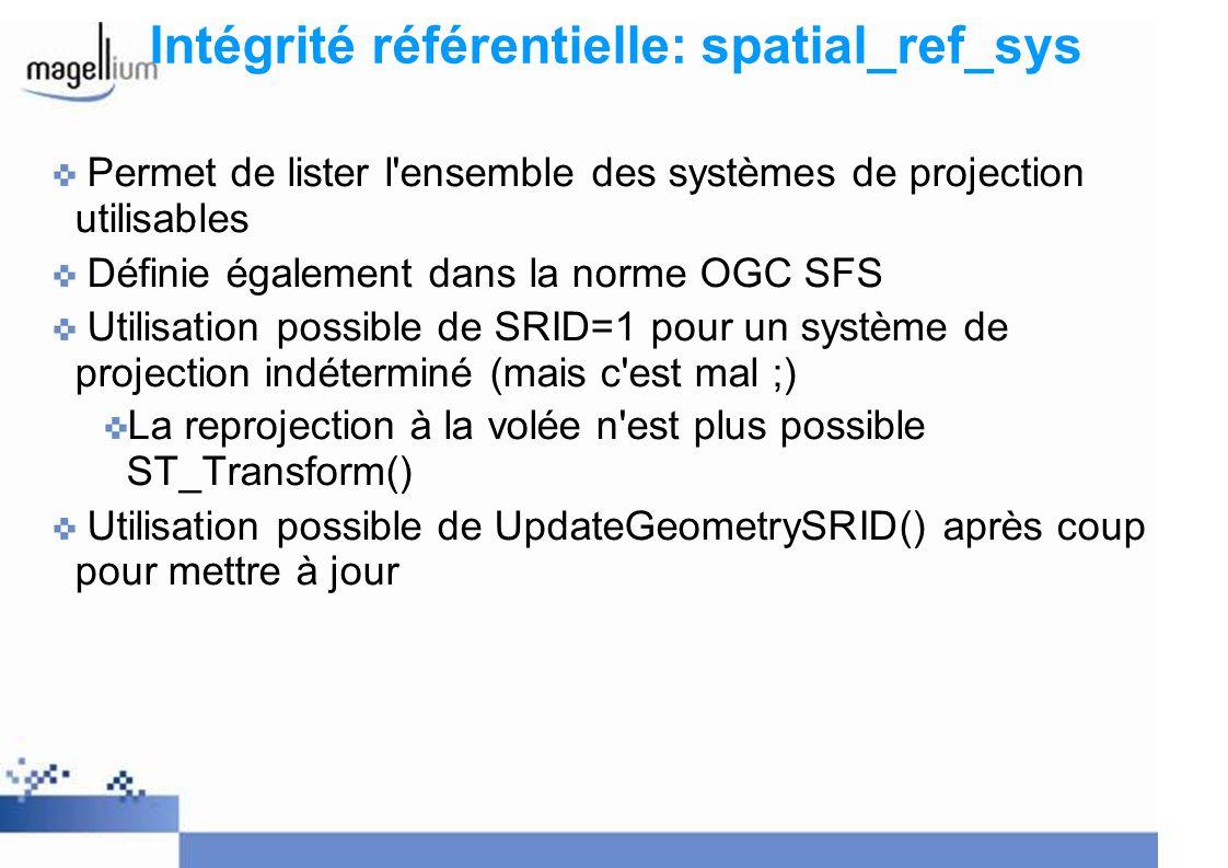 Intégrité référentielle: spatial_ref_sys Permet de lister l'ensemble des systèmes de projection utilisables Définie également dans la norme OGC SFS