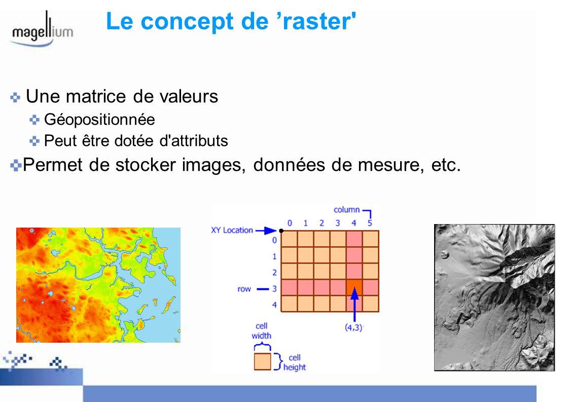 Le concept de raster' Une matrice de valeurs Géopositionnée Peut être dotée d'attributs Permet de stocker images, données de mesure, etc.