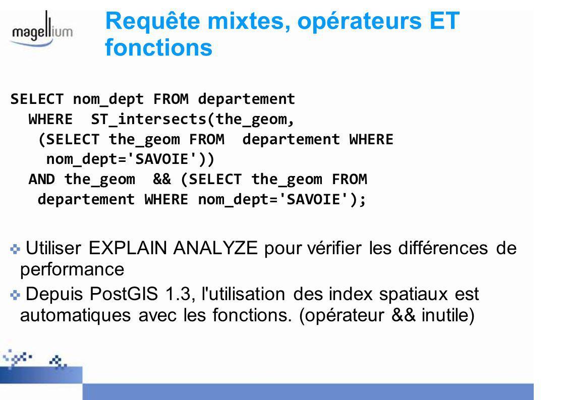 Requête mixtes, opérateurs ET fonctions SELECT nom_dept FROM departement WHERE ST_intersects(the_geom, (SELECT the_geom FROM departement WHERE nom_dept= SAVOIE )) AND the_geom && (SELECT the_geom FROM departement WHERE nom_dept= SAVOIE ); Utiliser EXPLAIN ANALYZE pour vérifier les différences de performance Depuis PostGIS 1.3, l utilisation des index spatiaux est automatiques avec les fonctions.