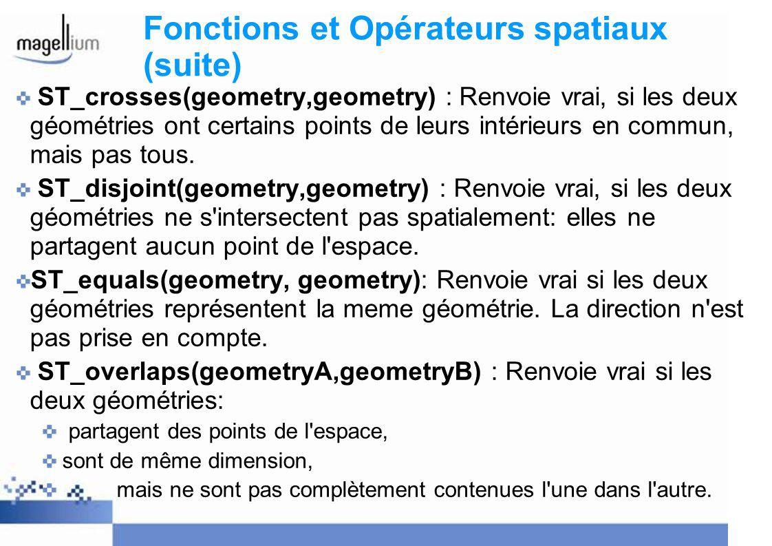 Exemple de fonctions spatiales select st_touches(p.geometry, p2.geometry) from pays p, pays p2 where p.country= France and p2.country= Spain ; => True select st_overlaps(p.geometry, p2.geometry) from pays p, pays p2 where p.country= France and p2.country= Spain ; => False select st_intersects(p.geometry, p2.geometry) from pays p, pays p2 where p.country= France and p2.country= Spain ; => True ?
