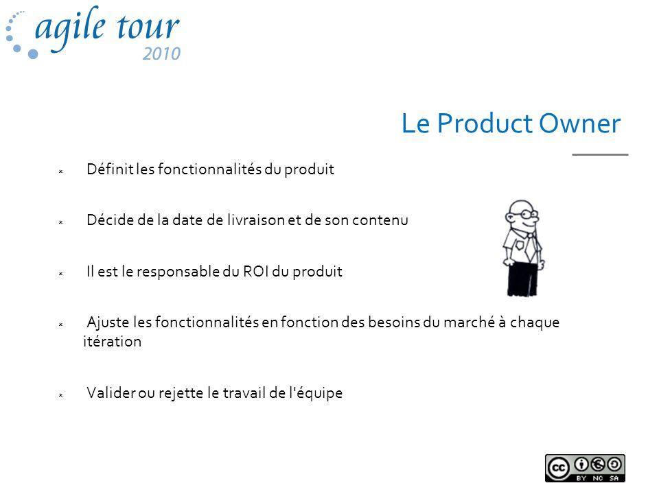 Le Product Owner Définit les fonctionnalités du produit Décide de la date de livraison et de son contenu Il est le responsable du ROI du produit Ajust