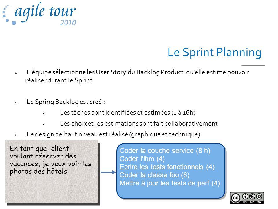 Le Sprint Planning L'équipe sélectionne les User Story du Backlog Product qu'elle estime pouvoir réaliser durant le Sprint Le Spring Backlog est créé