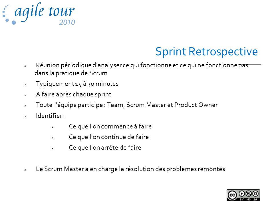 Sprint Retrospective Réunion périodique d'analyser ce qui fonctionne et ce qui ne fonctionne pas dans la pratique de Scrum Typiquement 15 à 30 minutes