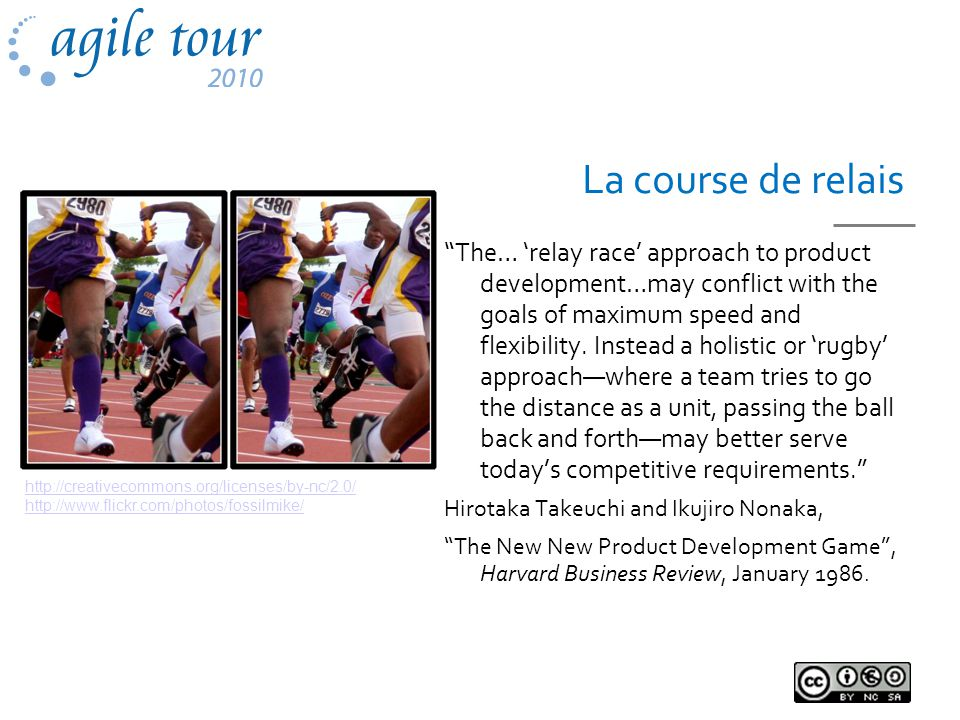 La course de relais The… relay race approach to product development…may conflict with the goals of maximum speed and flexibility.