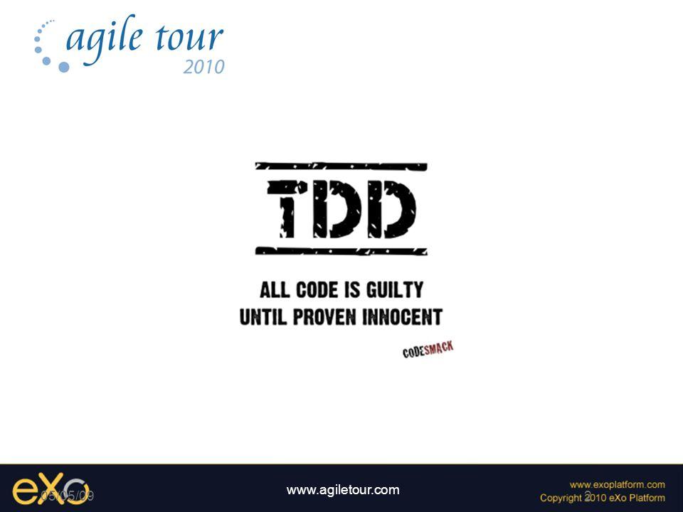 3 www.agiletour.com 05/05/09 Test Driven Developpement Lidée du Dojo Kata / Randori Lets fight .
